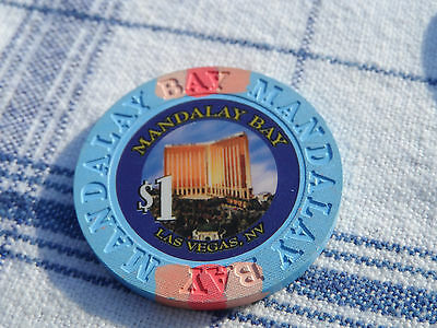 $1 ONE DOLLAR POKER GAMING CHIP MANDALAY BAY HOTEL CASINO LAS VEGAS NEVADA UV