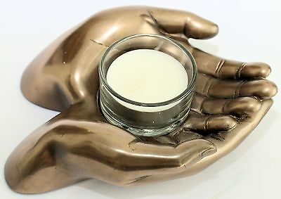 Cupped Prayer Hands Tea Candle Holder For Wealth Good Luck Prosperity Happiness