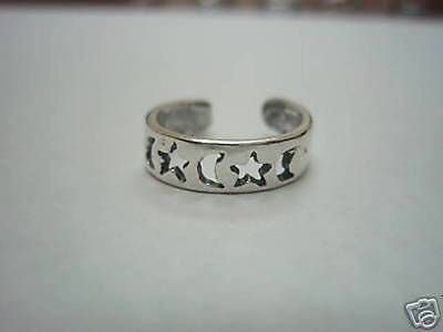 Sterling Silver Adjustable Toe Ring.moon & Star