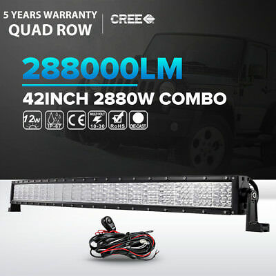 """42INCH 560W CREE Curved LED Light Bar Flood Spot Combo Offroad Truck 4WD 44"""" 50"""""""