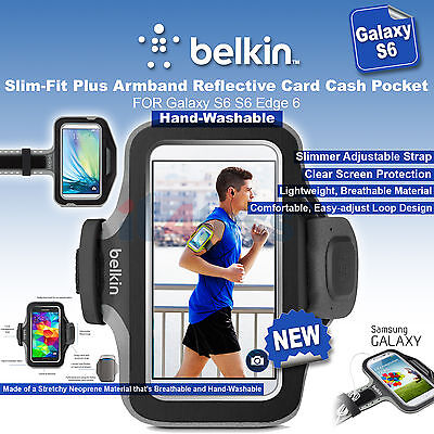 Belkin Slim-Fit Plus Armband Reflective Card Cash Pocket Galaxy S7 S6 S6 edge 6