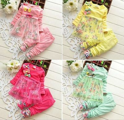 Free Shipping Baby Girls Winter Flower Long Sleeve Tutu Top+Pant Outfit set Suit