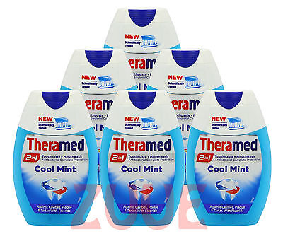 6x Theramed 2 in 1 Toothpaste & Mouthwash COOL MINT 75ml Same Day Dispatch