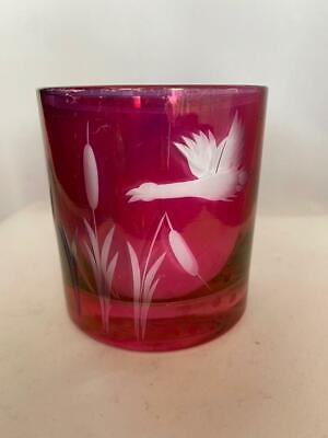Collectible Ruby Red Stained Glass Cut to Clear & Etched Goose Votive / Tealight