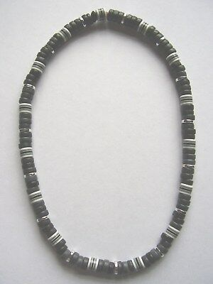 Black coco wood, silver & striped bead 16 inch stretch choker surf necklace