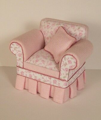 DOLLHOUSE MINIATURE UPHOLSTERED CHAIR - Shabby Chic Pink 1:12 Scale Handcrafted