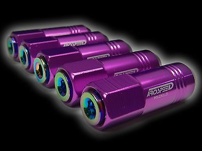 20Pc 12X1.5Mm 60Mm Extended Aluminum Tuner Racing Capped Lug Nut Purple/Neo D