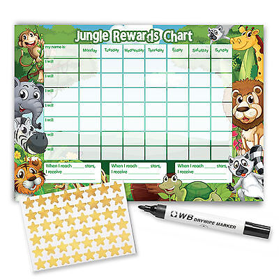 Re-usable Reward Chart (including FREE Stickers and Pen) - Jungle Design