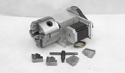 4th Axis, A axis 100mm 4-Jaw Chuck CNC Engraving Machine Router Rotational Axis