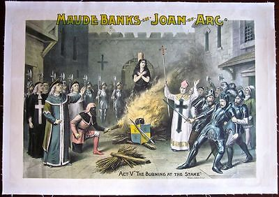 Reduced 100!! Joan Of Arc -1890's Lb Theatre Poster - Burning At The Stake Art