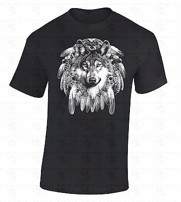 Dream Catcher Wolf T-SHIRT Native American Indian Spirit Feathers Pride Shirt