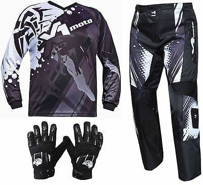BLACK YOUTH KIDS MX JERSEY PANTS GLOVES Dirt Bike Gear Off road Motocross Junior