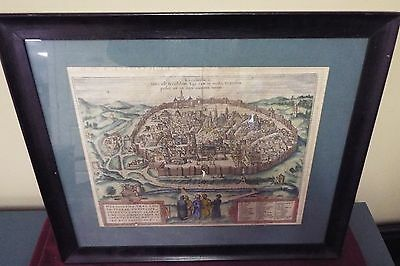 16th Century Map of Jerusalem by George Hoefnagel Flemish