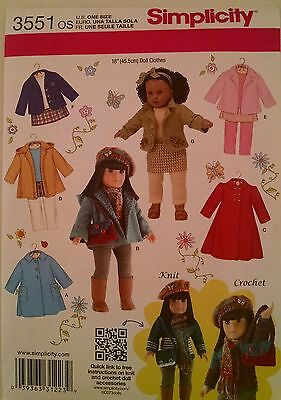 """18"""" GIRL DOLL CLOTHES Simplicity Sewing Pattern # 3551 American Made NEW Uncut"""