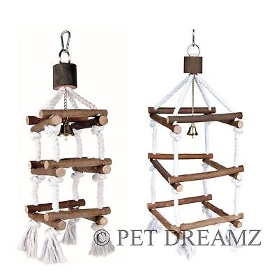 Wooden Bird Hanging Rope Tower With Bell Perch Swing Budgie Cockatiel