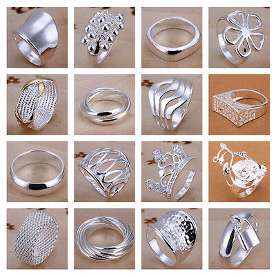 *Uk* 925 Silver Plt P 1/2 8 Band Rings Mens Ladies Statement Thumb Womens Gift
