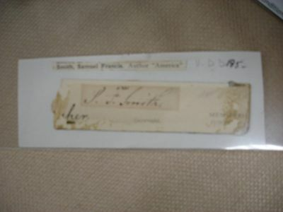 Samuel Francis Smith Undated Cut Signature - Bible