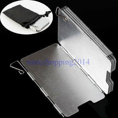 Hot 9 Plates Aluminum Foldable Camping BBQ Cookout Stove Wind Shield Screen ST