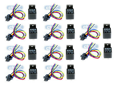 10 Pair 12V 30/40 Amp Spdt  Bosch Style Relay & Harness Socket 100% Copper Wires