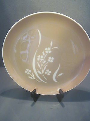 """Vintage Harkerware Springtime Cocoa Pink and Cream 10"""" Dinner Plates"""