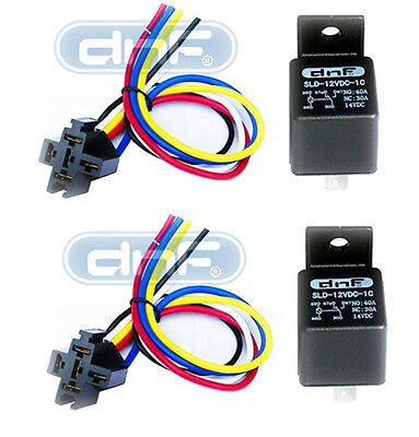 DNF 2 Pair 12V 30/40 AMP Bosch Style S Relay with Harness Socket SPDT Automotive