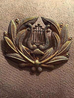 VINTAGE -Brass HAT  BADGE -USA MILITARY-MUSCIAN –OLD
