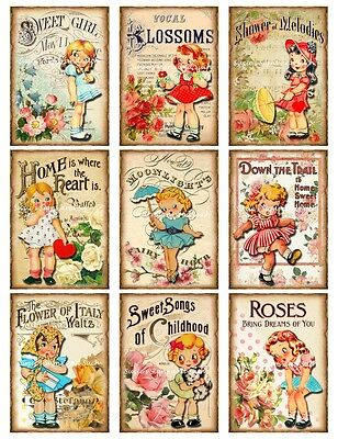 Vintage Stickers Altered Art Reproductions Sheet Music Girls Ephemera 18 Total