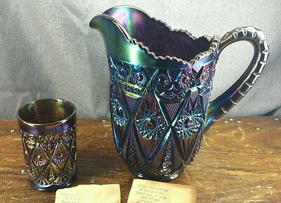 Carnival Glass Amethyst Imperial Diamond Lace Pitcher Tumbler Beautiful Vintage