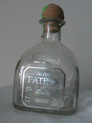 Silver Patron Tequila 750 ml empty clear glass bottle collectible cork green