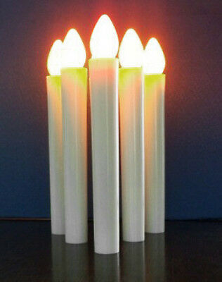 10 White Taper LED Battery Stick Candle No Stand Wedding Table Room Candleabra