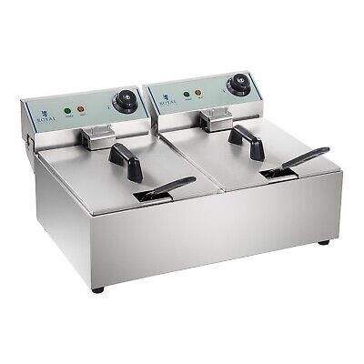 Friteuse Double Électrique 2X3200W Inox Pro Eco Zone-Froide 230V 2X10L Neuf
