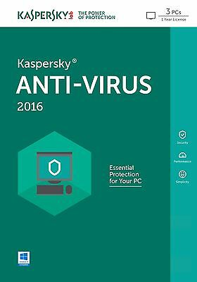 Kaspersky Anti-Virus 2016 3 PC / 1 Year | Download | No CD | Antivirus