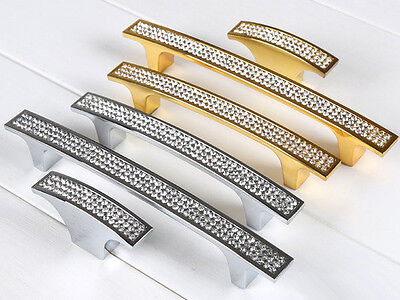 96 128 160 192 mm Gold Silver Rhinestone Drawer Pulls Large Cabinet Door Handles