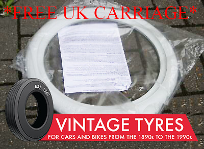 """4X 13"""" White Wall Tyre Trims Whitewall Ford Vauxhall"""