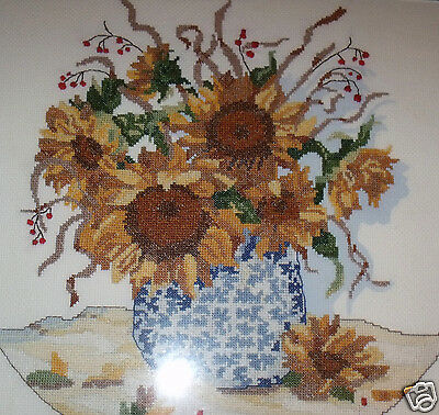 """Completed Cross stitch Needlepoint Oak Framed Matted Sunflowers Flowers pot  20"""""""