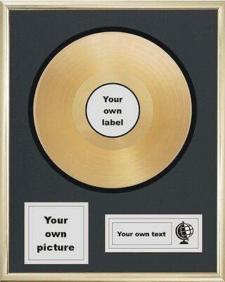 """Your Own Personalised 12"""" Gold Disc Lp Album Record Award Presentation"""