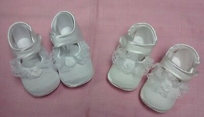 Girls Christening Shoes Ivory Or White 1-3-6-12 Months Little Cutie New