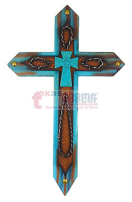 Wooden Turquoise Decorative Wall Cross Metal Layer Brass Tacks Barbed Wire