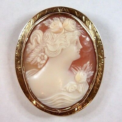 Antique Cameo in 10k Gold – Woman Facing Right with Roses in Hair and on Dress