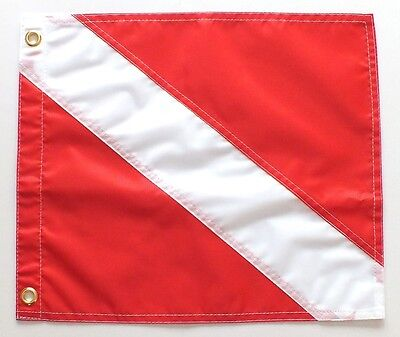 """NEW Diver Down Flag (Scuba Flag) 14"""" x 12"""" from WILCOMP"""