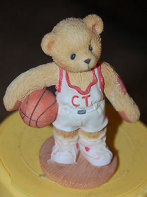 1997 Enesco Shooting Star LARRY Cherished Teddies BEAR Basket Ball Player Figure