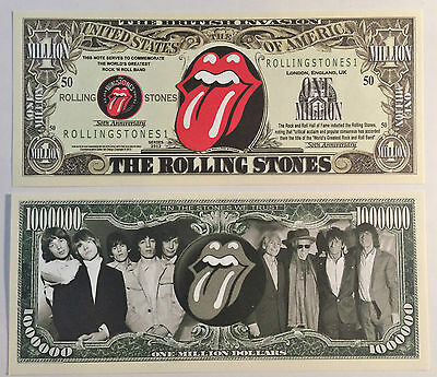 RARE: THE ROLLING STONES $1 Million Novelty Note, Music. Buy 5 Get one FREE
