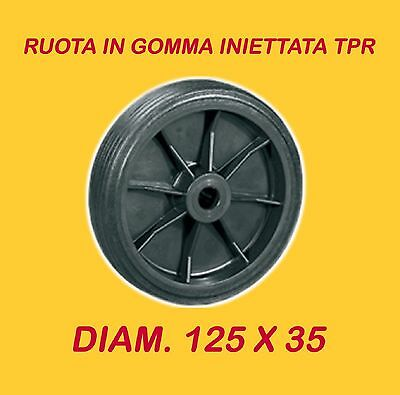 Industrial Molded Rubber Wheels Diam. 125 X 35 For Trolleys Up To 50 Kg