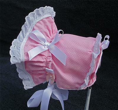 New Handmade Pink Pin Dot with White Eyelet Lace Baby Sun Bonnet