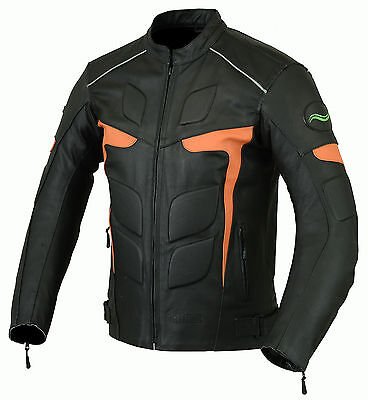 Mens RIDEX Biker Motorbike Motorcycle LJ2-O Leather Jacket with CE Armours
