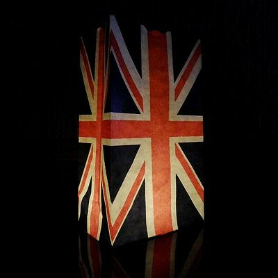 10 Union Jack Candle Bags - paper luminary lantern bags printed with the UK flag