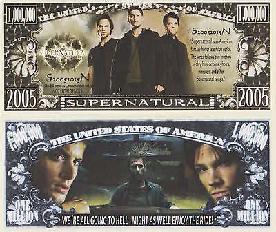 RARE: Supernatural $1,000,000 Novelty Note, TV Shows Buy 5 Get one FREE