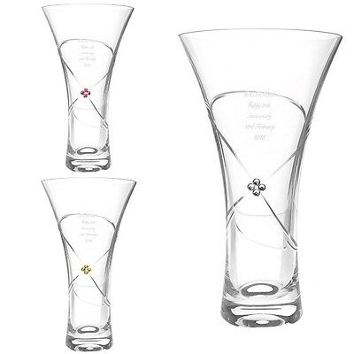 PERSONALISED ENGRAVED Vase Crystal Clear Ruby Gold Wedding Anniversary Gift Idea