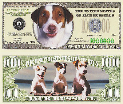 "RARE: Dogs ""JACK RUSSELLS"" $1,000,000 Novelty Note, Buy 5 Get one FREE"