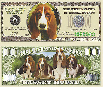 """RARE: Dogs """"BASSET HOUNDS"""" $1,000,000 Novelty Note, Buy 5 Get one FREE"""